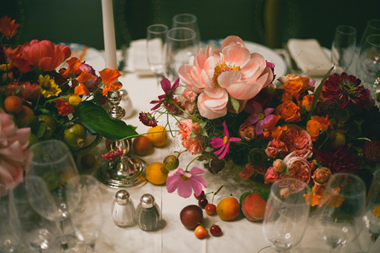 Amy Merrick's floral design, warm pinks, oranges, and purples.
