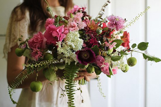 Amy Merrick's floral design, wedding bouquet with fruit.
