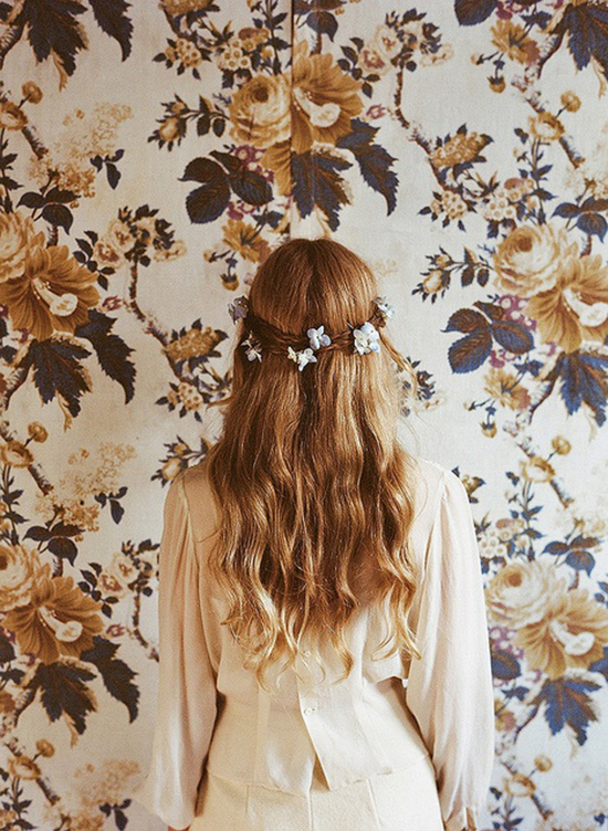 Amy Merrick's floral design and styling with vintage wallpaper.