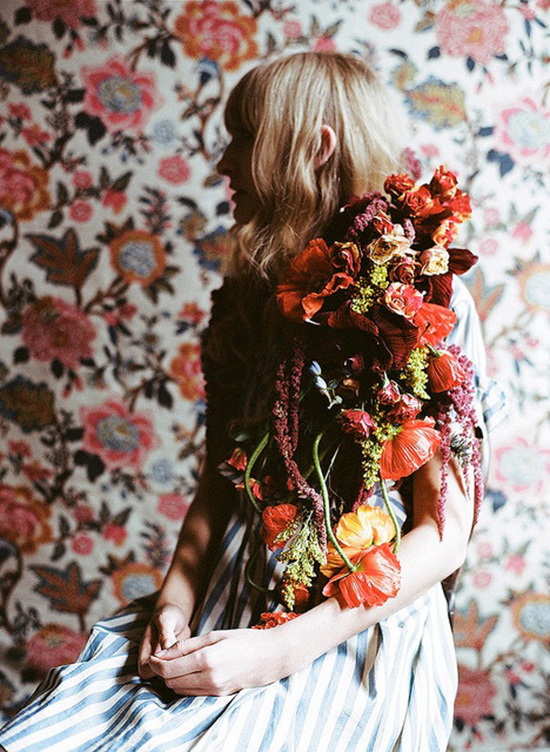 Amy Merrick's beautiful floral styling with vintage wallpaper.