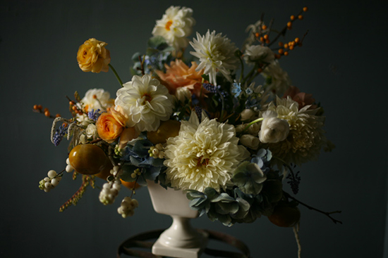 Amy Merrick's floral design, antique blues and apricots.