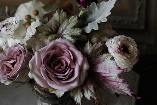 Amy Merrick's floral design, lavender roses and ranunculus.