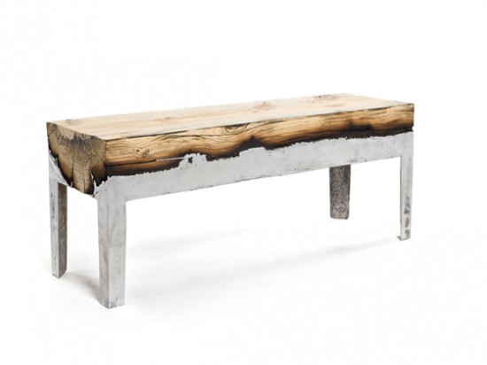 The wood casting series by Isreali artist Hilla Shamia, furniture made of wood cast with aluminum.
