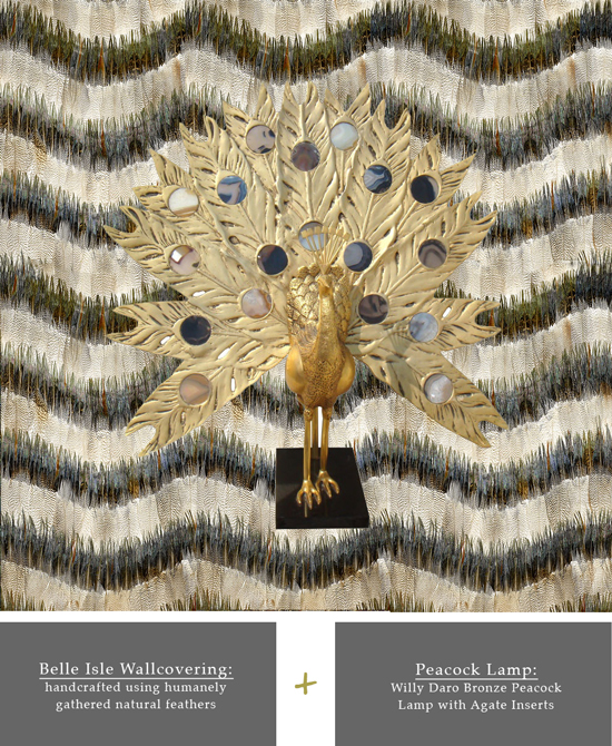 clash act - belle isle wall covering + brass and agate peacock lamp