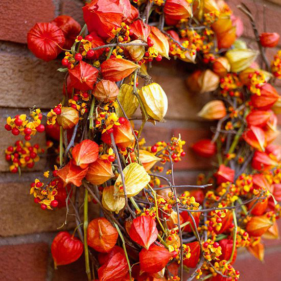 Chinese Lantern and Bittersweet Fresh Fall Wreath