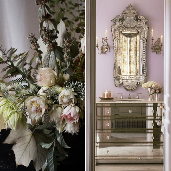 flora + form - orchid and grey flowers and room