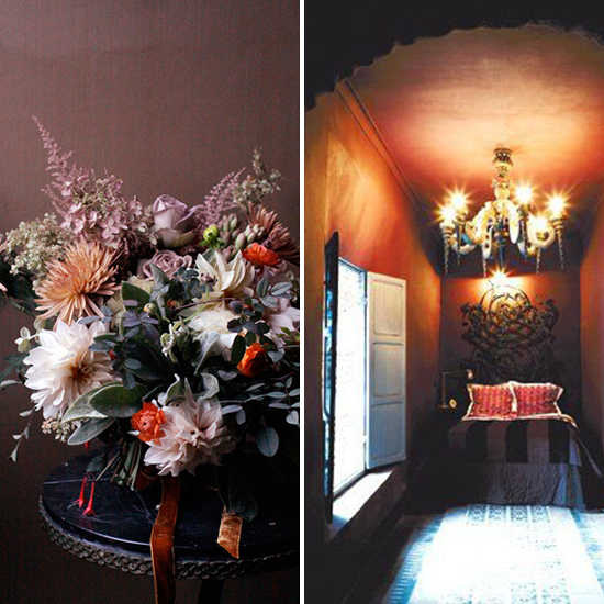 flora + form - plum and persimmon flowers and room