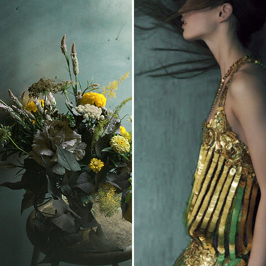 flora + form - seal blue and brass flowers and dress