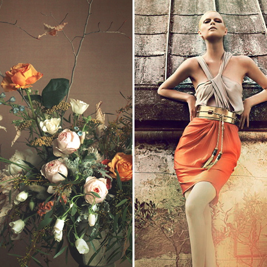 flora + form - taupe and tangerine flowers and dress