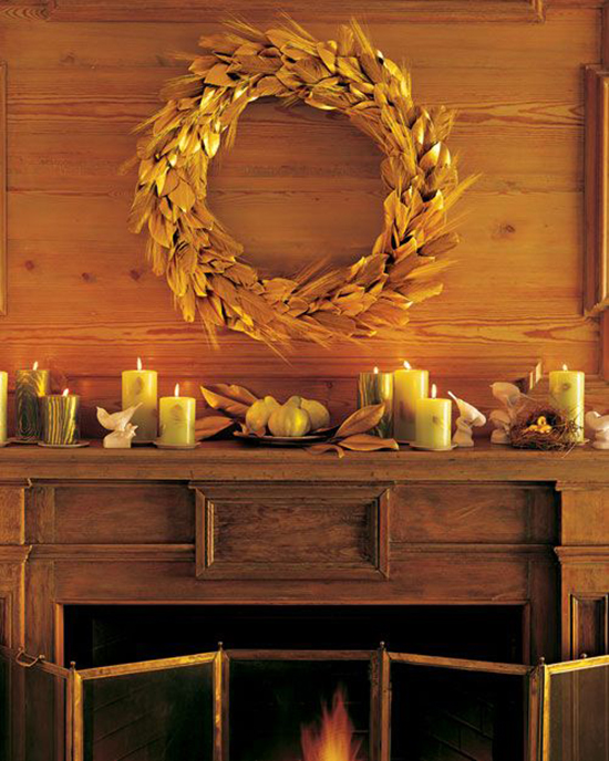 Gilded Leaf and Wheat Wreath - Favorite Fall Wreaths