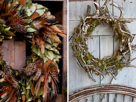 Magnolia and Feather Fall Wreath and a Mossy Twig Wreath