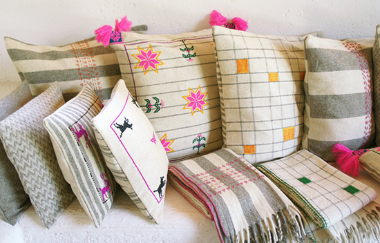 Mexchic embroidered pillows and blankets