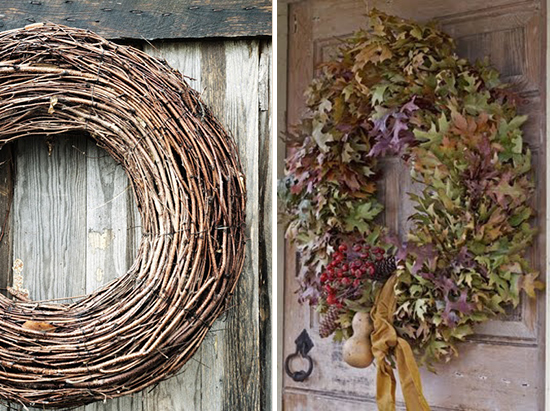 Rolled Grapevine Wreath and a Fresh Oak Leaf Fall Wreath
