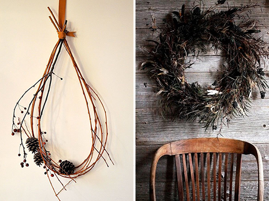 A simple twig and pinecone wreath and a dark, rough, and natural fall wreath.