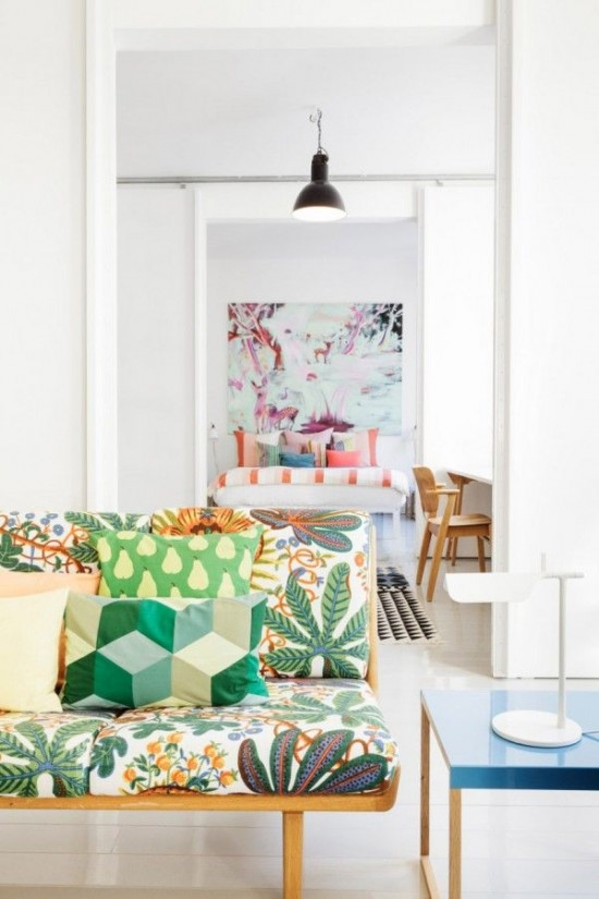 bold patterns in a white room