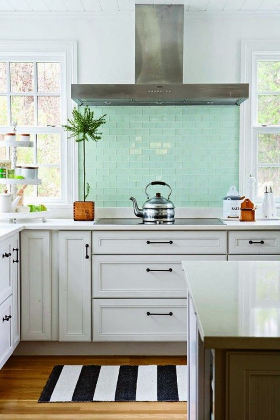 inspired palettes - a hint of mint on the kitchen backsplash